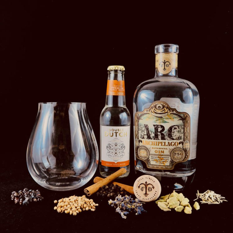 ARC Botanical Gin product bottles and ingredients